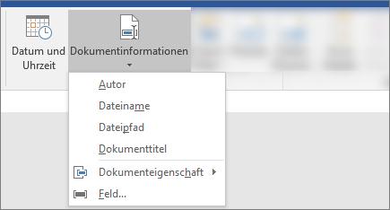 """Screenshot mit den Schaltflächen """"Dokumentinformationen"""" und """"Datum & Uhrzeit"""" im Word-Menüband"""