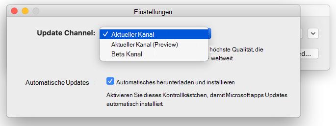 Abbildung des Mac-Fensters Microsoft AutoUpdate – > Einstellungen zum Updatekanal.