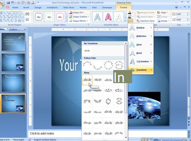 Ändern der Größe von WordArt-Text
