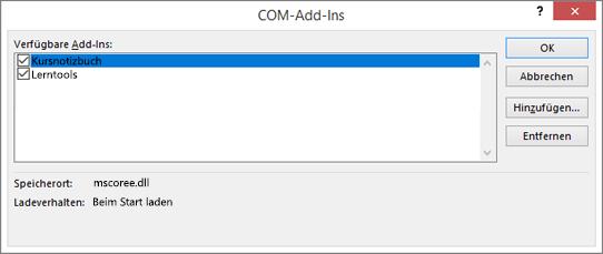 """Dialogfeld """"COM-Add-Ins"""" mit """"Kursnotizbuch"""" und Kontrollkästchen ausgewählt. Schaltflächen für """"OK"""", """"Abbrechen"""", """"Hinzufügen"""" und """"Entfernen""""."""