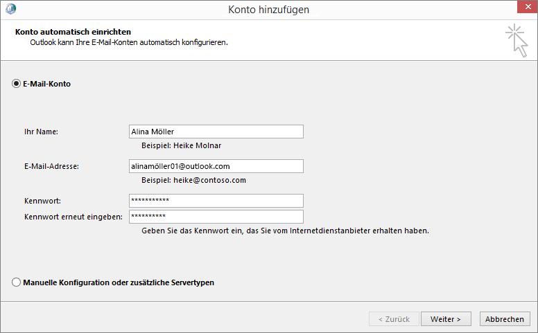 """Verwenden von """"Konto automatisch einrichten"""" zum Hinzufügen eines E-Mail-Kontos im Rahmen eines neu erstellten Profils für Outlook"""