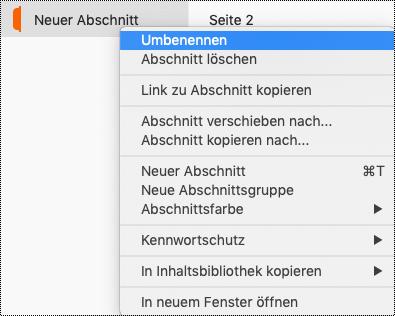 "Kontextmenü ""Abschnitt"" mit hervorgehobenem Abschnitt ""Umbenennen""."