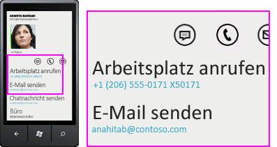 """Screenshot von Aktivitäten wie """"Büro anrufen"""" im Lync-Client für Mobilgeräte"""