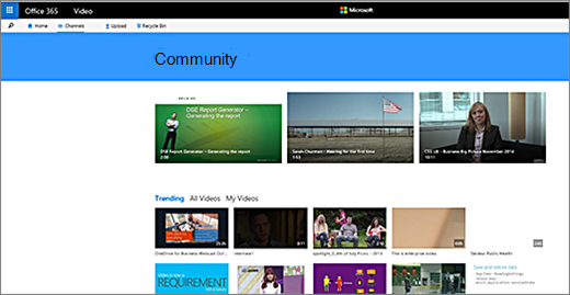 Office 365-video Community-Seite