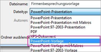Speichern als PowerPoint-Vorlage