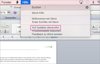 Office für Mac Menü screenshot