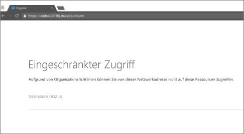 Nachricht über eingeschränkten Zugriff im Browser
