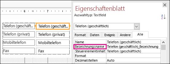 """Eigenschaft """"Bezeichnungsname"""" im Eigenschaftenblatt"""