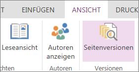 """Menü """"Ansicht"""" in OneNote Online mit ausgewählter Option """"Seitenversionen"""""""