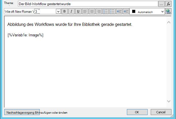 Workflow-e-Mail-Mesage Body mit Bild