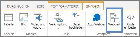 Webpart einfügen