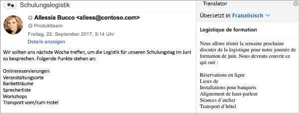 Diese Nachricht wurde mithilfe des Outlook Übersetzer-Add-Ins aus dem Englischen ins Französische übersetzt