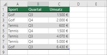 Beispieldaten für PivotTable