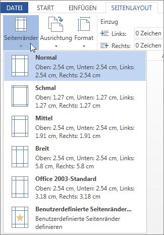 Abbildung des Word Web App-Katalogs 'Seitenränder'