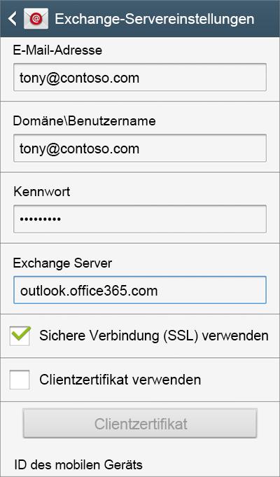Exchange-Servereinstellungen