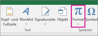 """Schaltfläche """"Formel"""" im Excel 2016-Menüband"""