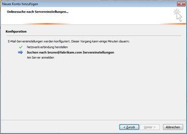 """Dialogfeld """"Neues Konto hinzufügen"""": Konfiguration von E-Mail-Servereinstellungen"""
