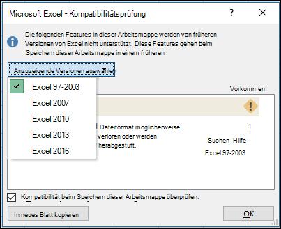 Kompatibilitätsprüfung für Excel-Dialogfeld