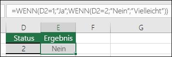 """Verwenden von """""""", um auf eine leere Zelle zu überprüfen – die Formel in E3 lautet =WENN(D3="""""""";""""Leer"""";""""Nicht Leer"""")"""