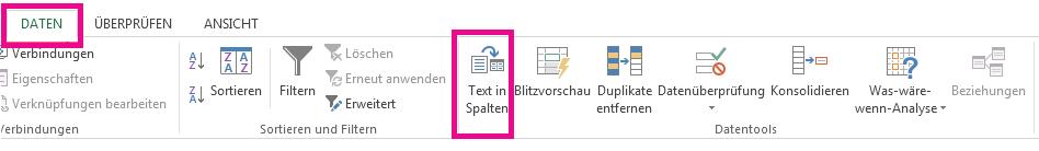"""Das Symbol """"Text in Spalten"""" befindet sich auf der Registerkarte """"Daten""""."""