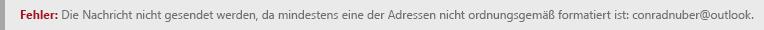 Screenshot eines Adressformatfehlers in Outlook.com.
