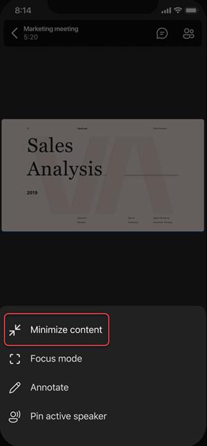 Option im Menü zum Minimieren von Inhalten