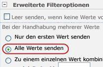 Klicken Sie in 'Erweiterte Filteroptionen' auf 'Alle Werte senden'.