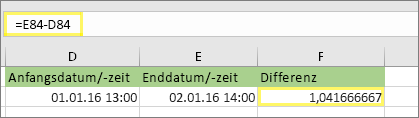 = E84-D84 und Ergebnis von 1,041666667
