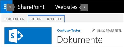 SharePoint 2016 – Obere linke Bildschirmecke mit App-Startfeld und Titel