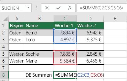 Verwenden von SUMME für nicht zusammenhängende Bereiche.  Die Formel in Zelle C8 lautet =SUMME(C2:C3;C5:C6). Sie könnten auch benannte Bereiche verwenden. Dann würde die Formel folgendermaßen lauten: =SUMME(Woche1;Woche2).
