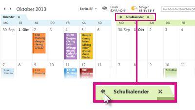 Befehl 'Überlagert anzeigen' auf einer Kalenderregisterkarte