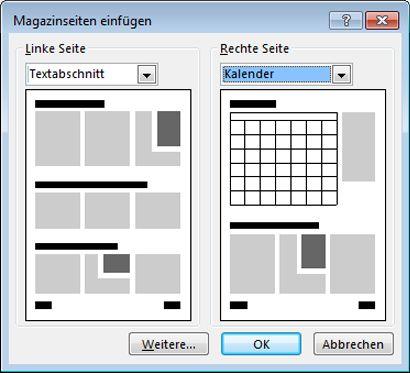 Über das Dialogfeld 'Magazinseiten einfügen' können Sie neue Seiten zu Ihrem Magazin hinzufügen.