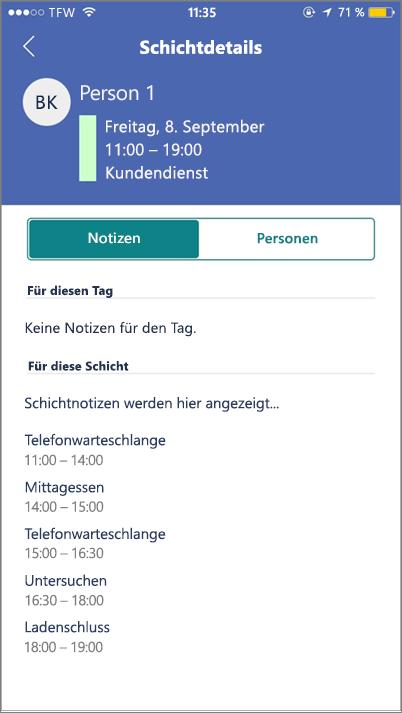 Screenshot:  Anzeigen der Staffhub-Aktivitäten auf dem mobilen Gerät