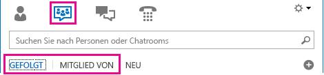 Screenshot der Chatroomansicht des Lync-Hauptfensters mit hervorgehobenen Registerkarten 'Mitglied von' und 'Gefolgt'