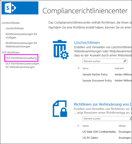 """Option """"Richtlinienverwaltung"""""""