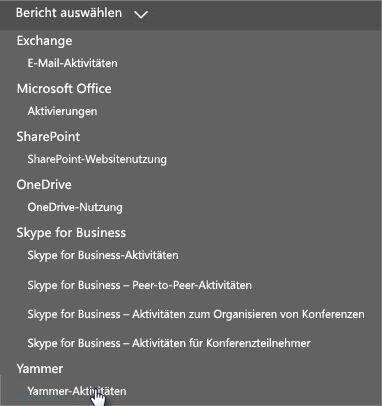 """Screenshot des Menüs zum Auswählen eines Berichts im Office365-Dashboard """"Berichte"""""""