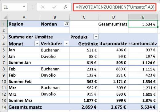 Beispiel für die Verwendung der Funktion GETPIVOTDATA zum Zurückgeben von Daten aus einer PivotTable.