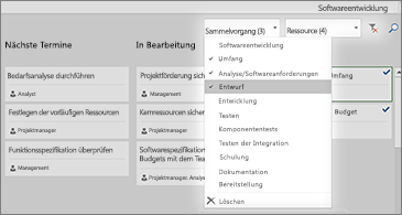 "Task Board mit Dropdownliste ""Filter"""