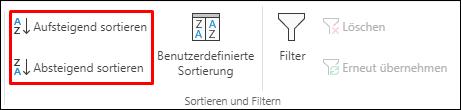 """Schaltflächen """"aufsteigend sortieren"""" und """"absteigend sortieren auf der Registerkarte """"Daten"""" in Excel"""