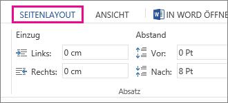 Abbildung der Optionen für Einzug und Abstand auf der Registerkarte 'Seitenlayout'