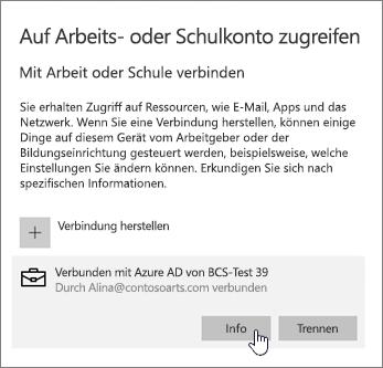 """Klicken Sie auf die Schaltfläche """"Informationen"""", um den Synchronisierungsstatus anzuzeigen"""