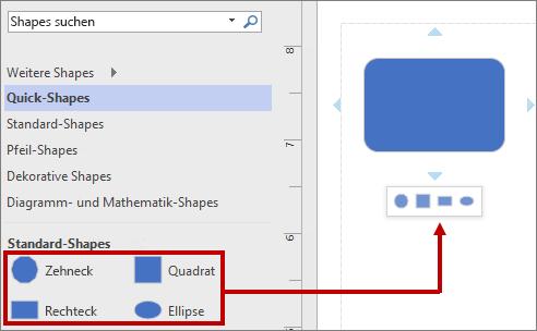 Der Minisymbolleiste mit grundlegenden Standard-Shapes