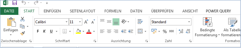 Alle Registerkarten und Befehle werden im Menüband angezeigt.