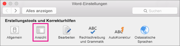 """Klicken Sie unter """"Word-Einstellungen"""" auf """"Ansicht"""", um die Anzeigeeinstellungen zu ändern."""