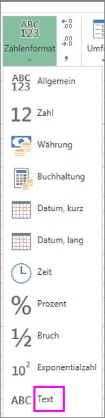 Textformat für Zahlen
