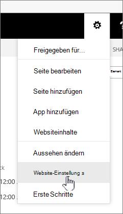 """Option """"Websiteeinstellungen"""" unter der Schaltfläche """"Einstellungen"""""""