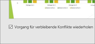 """Abbildung des Kontrollkästchens für """"Vorgang für restliche Konflikte wiederholen"""" in PowerPoint"""