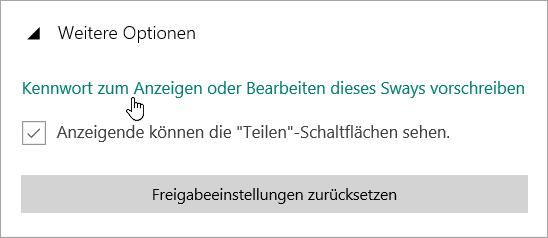 """Screenshot des Menüs """"Weitere Optionen"""""""