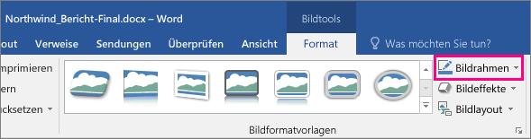 """Auf der Registerkarte """"Bildtools"""" unter """"Format"""" ist die Option """"Bildrahmen"""" hervorgehoben."""
