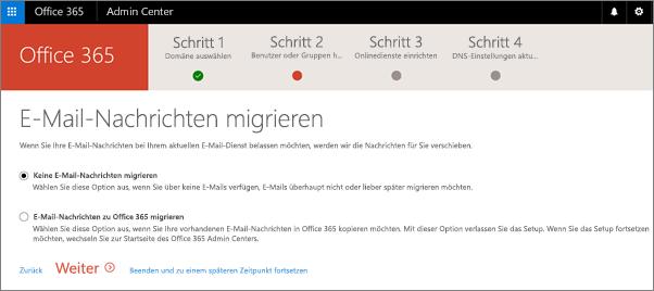 """Schritt """"Aktuelle Benutzer aktualisieren"""" im Assistenten für Domänen"""